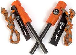5-in-1 Fire Starter with Compass, Paracord and Whistle